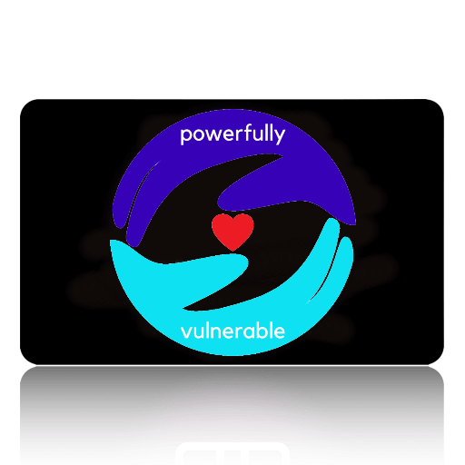[picture of black gift card with the powerfully vulnerable logo, an indigo and a turquoise hand encircling a small red heart]