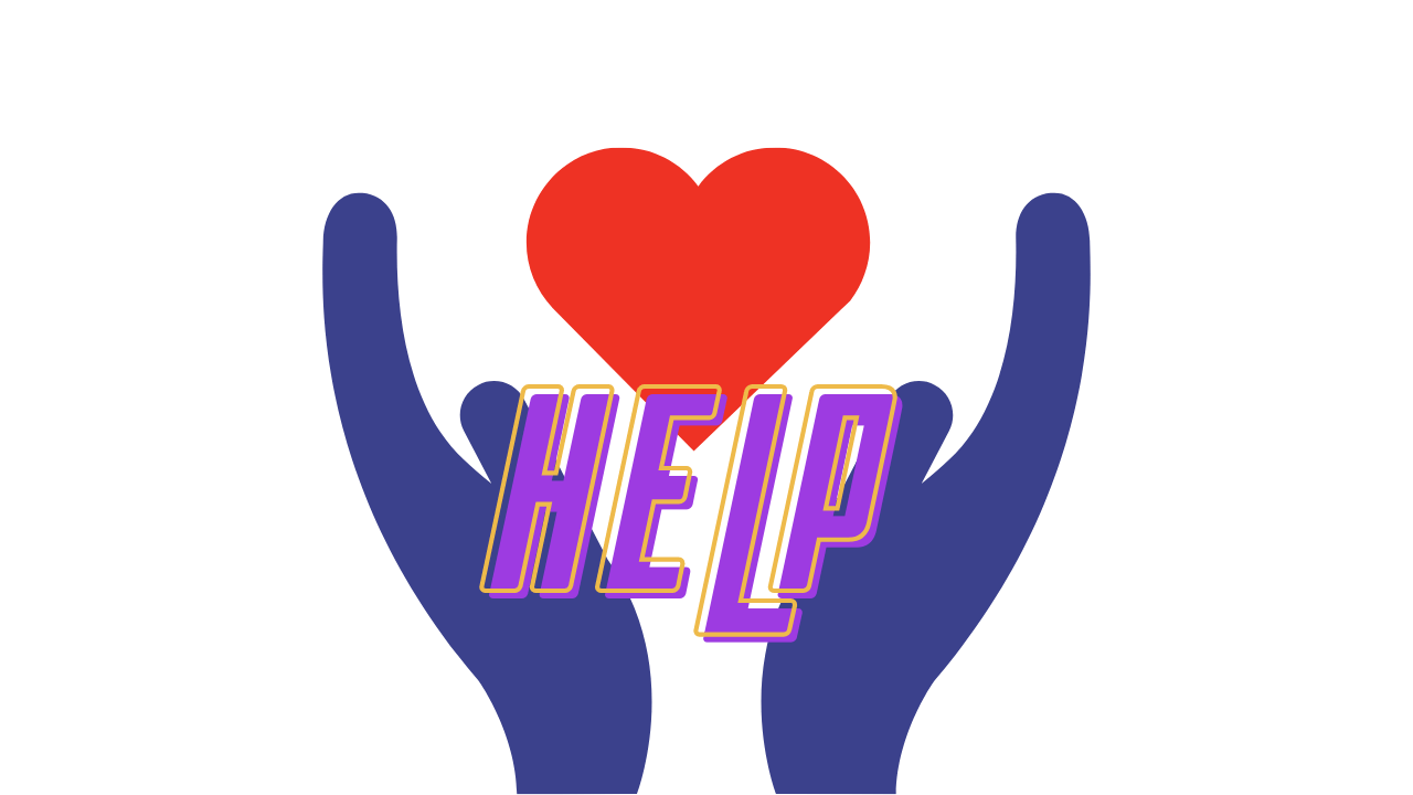 "[icon of hands reaching out for a heart, with the word ""HELP"" superimposed over them in purple letters.]"